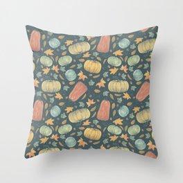 scattered autumn pumpkins on smalt blue Throw Pillow