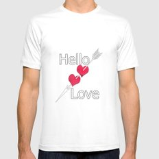 Hello love! Black background . White MEDIUM Mens Fitted Tee