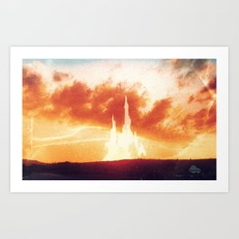 Sunset castle city in the clouds Art Print