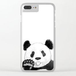 a lovely panda sticking out the tongue Clear iPhone Case