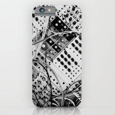 analog synthesizer  - diagonal black and white illustration Slim Case iPhone 6s