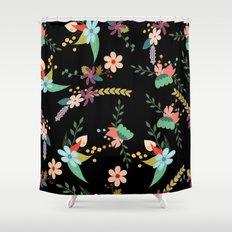 Floral pattern black Shower Curtain