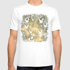 Birds on beige messy kaleidoscope White Mens Fitted Tee MEDIUM