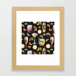Cocktail and Biscuit Pattern Black Background Framed Art Print