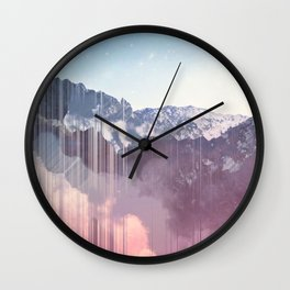 Glitched Mountains Wall Clock