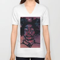 basquiat V-neck T-shirts featuring basquiat by joseph arruda (zeruch)