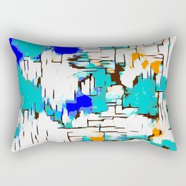 blue green and orange drawing abstract background Rectangular Pillow