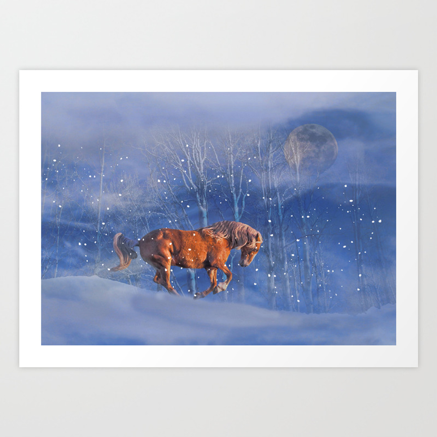 Christmas Horse In The Snow Running Winter Horses Scene Art Print By Stephlaird Society6