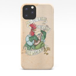Alan-A-Dale Rooster : OO-De-Lally Golly What A Day Tattoo Watercolor Painting iPhone Case