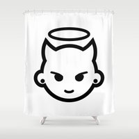 emoji Shower Curtains featuring Devious emoji by hello Malcolm