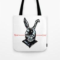 donnie darko Tote Bags featuring Donnie Darko: FEAR • FRANK • LOVE by Stephan Brusche