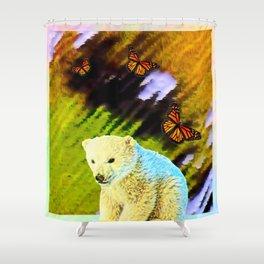 Polar Bear Cub With Monarch Butterflies Shower Curtain