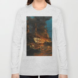 The Burning of a Turkish Frigate Long Sleeve T-shirt