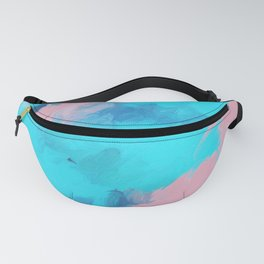 Modern abstract teal pink paint brushstrokes Fanny Pack