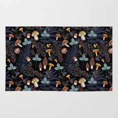 dark wild forest mushrooms Rug