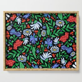 Abstract floral background Serving Tray