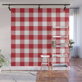 Buffalo Plaid - Red & White Wall Mural