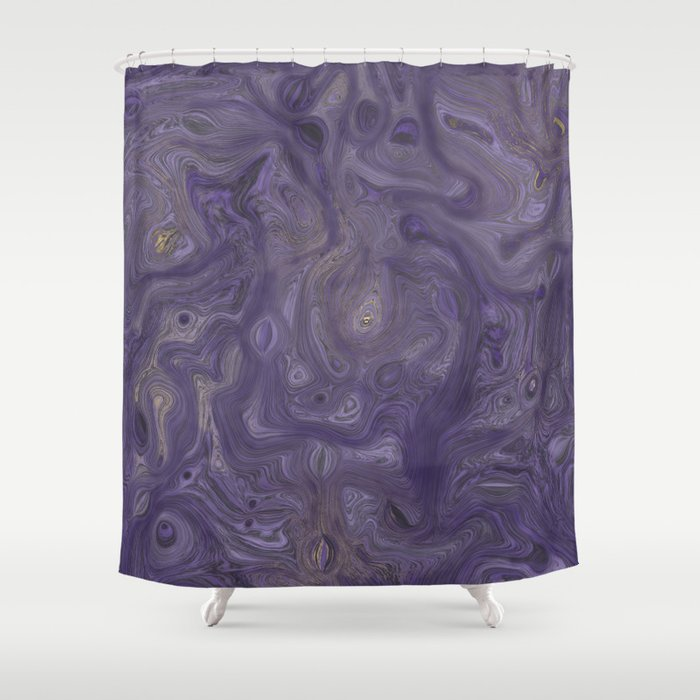 Marbled Painting In Violet And Gold Shower Curtain By Adriablack