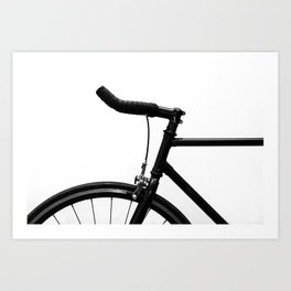 black bicycle in black and white Art Print