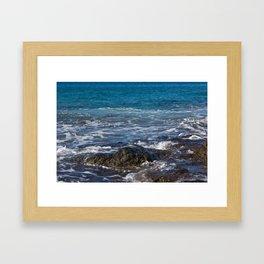 rock in the waves Framed Art Print