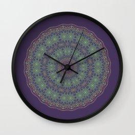 Lotus Mandala on Dark Purple - 2 Wall Clock