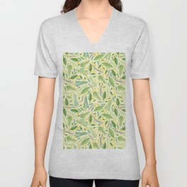 Tropical yellow green abstract leaves floral pattern Unisex V-Neck