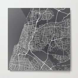 Tel Aviv Map, Israel - Gray Metal Print