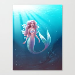 siver mermaid Canvas Print