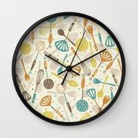 kitchen Wall Clocks featuring Kitchen Utensils by Anna Deegan