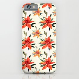 Vintage orange green bohemian flowers pattern iPhone Case