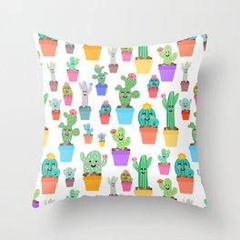 Sunny Happy Cactus Family Throw Pillow