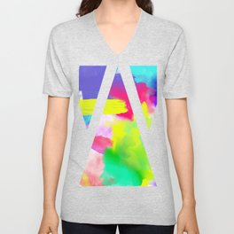 Neon Emotion | Abstract Stripes Neon Artistic Watercolor Pattern Unisex V-Neck