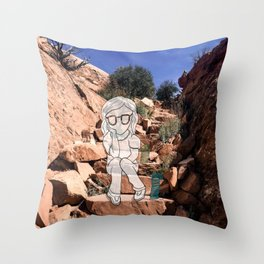 Slinky On Desert Stairs Throw Pillow