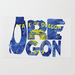 Oregon Typographic Flag Map Art Rug