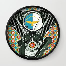 Blue Portuguese flag collage Wall Clock