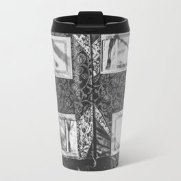 dining table with classic tablecloth in black and white Travel Mug