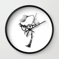 woody allen Wall Clocks featuring Woody Allen by Diego Abelenda