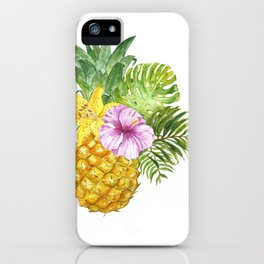 Watercolor Pineapple Art Floral Fruit Illustration Summer Tropical Hawaii Sun Beach paradise Leaves painting iPhone Case