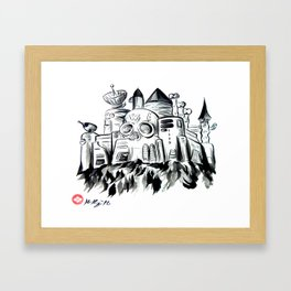 Wily Castle, Japanese Sumi-e Painting Framed Art Print