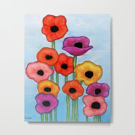 Colorful Poppies on Blue Metal Print