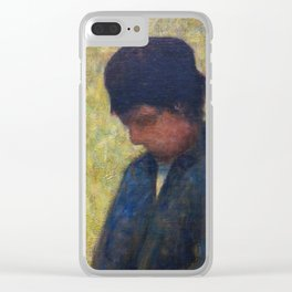 Boy Sitting in a Meadow Clear iPhone Case