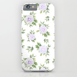 Botanical lavender white green watercolor floral iPhone Case