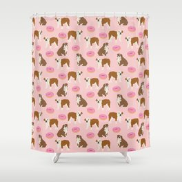 English Bulldog donuts funny pet portrait cute gift for dog person dog lover bulldog owner gifts Shower Curtain