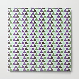 Geometrical purple green abstract triangles pattern Metal Print
