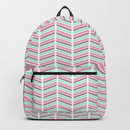 Geometrical neon pink turquoise modern chevron zigzag Backpack