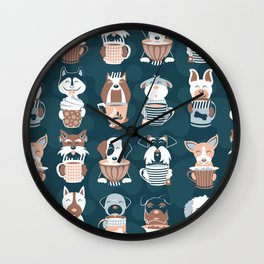 Doggie Coffee and Tea Time II Wall Clock