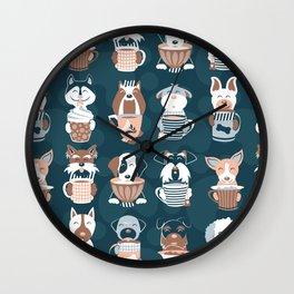 Doggie Coffee and Tea Time II Wall Clock