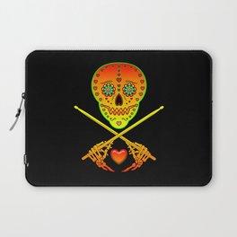 Neon Sugar Skull Drummer. Laptop Sleeve