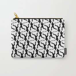 Baseball Player Silhouette - Pattern - Black Carry-All Pouch