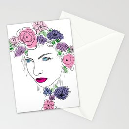 Girl with the Flowers Stationery Cards